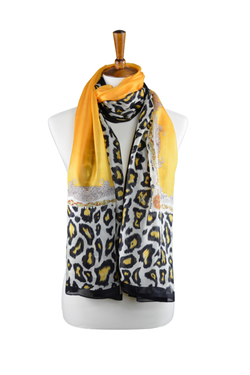 100% Gold Silk Scarf with Leopard Border
