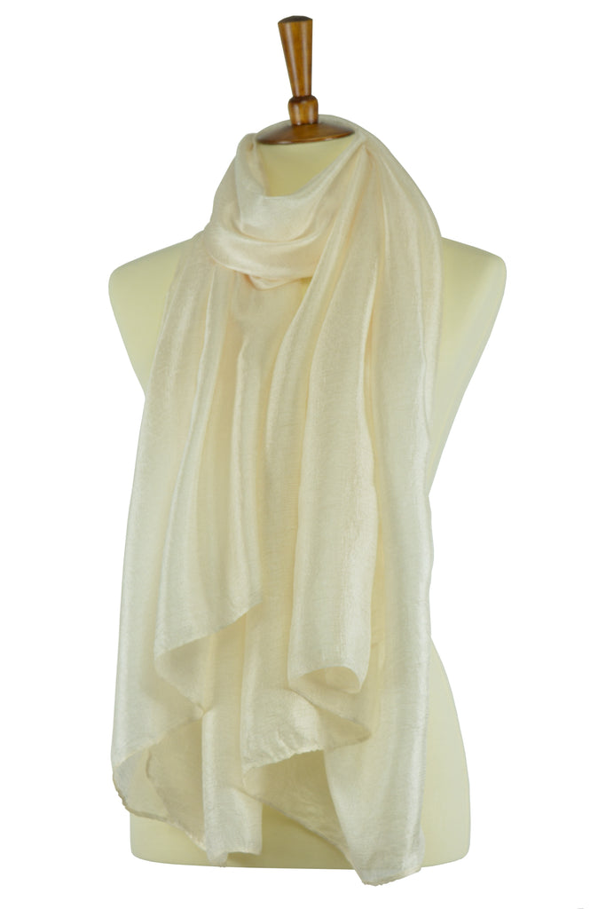 Cream color silk-linen blend hijab scarf
