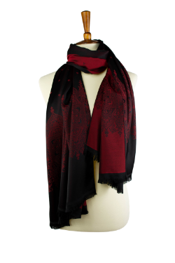 red and black reversible oblong scarf, hijab, with classic design