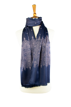 navy and pink reversible oblong scarf, hijab, with classic design