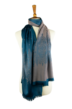 teal and taupe reversible oblong scarf, hijab, with classic design