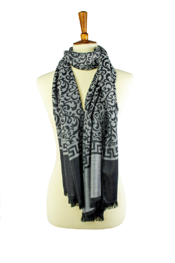 Grey and black reversible  oblong hijab, scarf, with scroll pattern