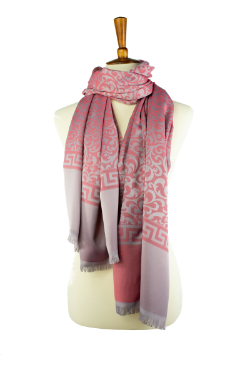 red and grey reversible  oblong hijab, scarf, with scroll pattern