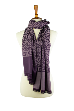 purple and tan reversible  oblong hijab, scarf, with scroll pattern