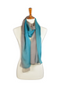 100% Silk Teal & Taupe Ombre Scarf