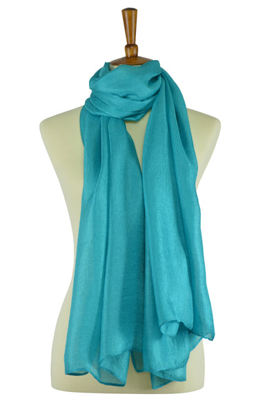 Turquoise teal silk-linen hijab scarf