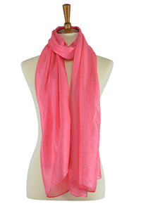 watermelon color silk-linen hijab scarf