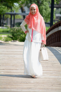 Long sleeve Rayon Cream and Coral Blouse
