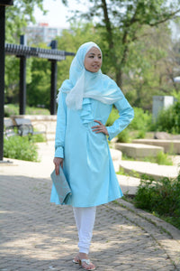Aqua Ruffled Tunic