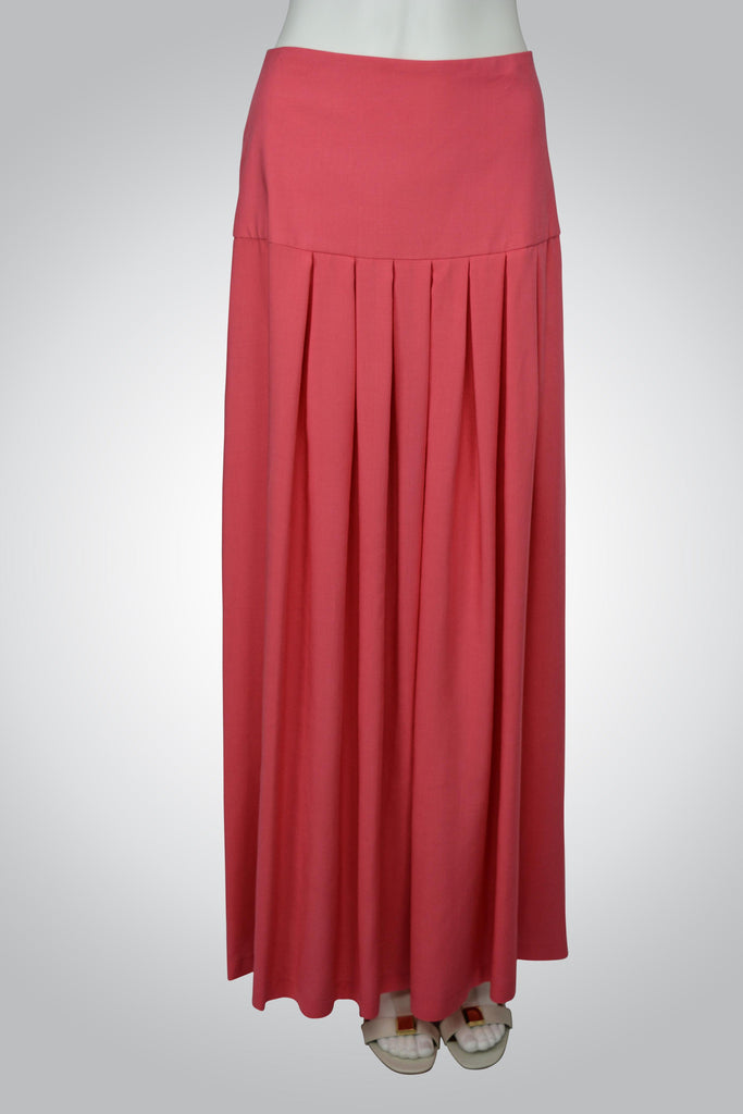 Coral Color Maxi Skirt with Box Pleats