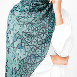 Blue & Green Islamic Geometric Design Hijab