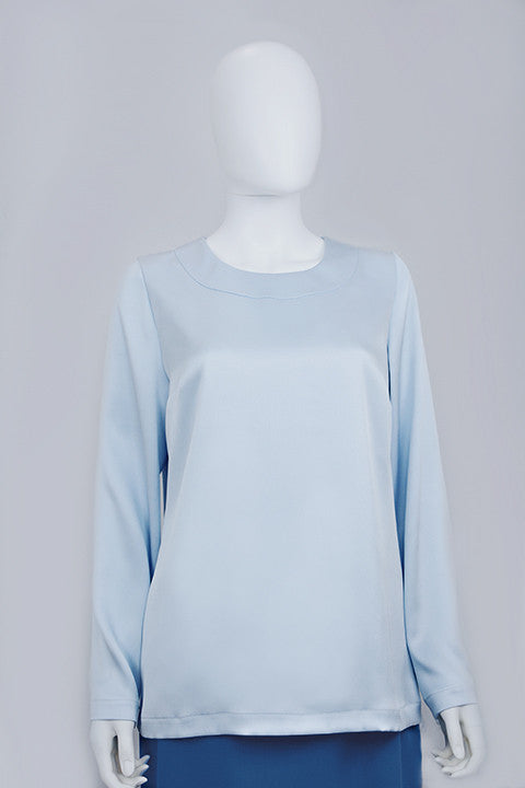 Double faced 100% Silk Blue Blouse