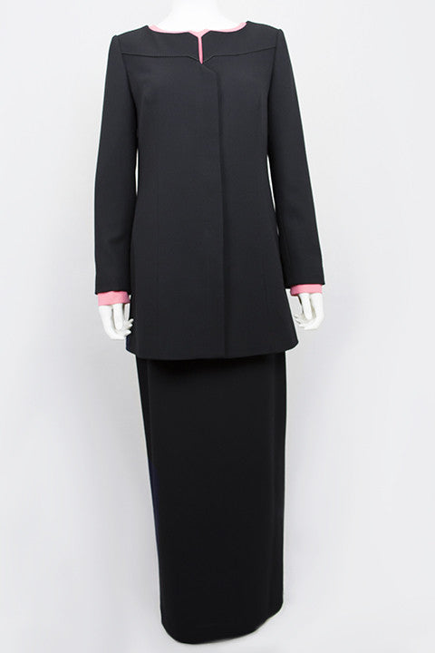 Italian Wool Bespoke Modest Suit Black