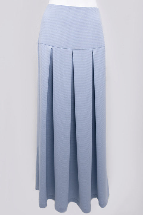 Blue Maxi Skirt Box Pleats