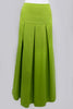 Green Maxi Skirt Box Pleats