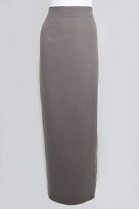 Mocha High Waist Slim Skirt with Double Kick Pleat