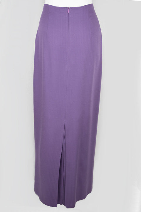 Violet High Waist Slim Skirt with Double Kick Pleat