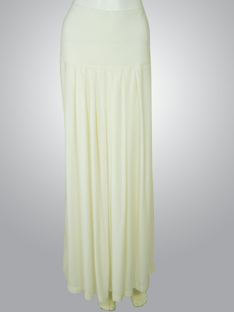 Off White Maxi Skirt with Box Pleats