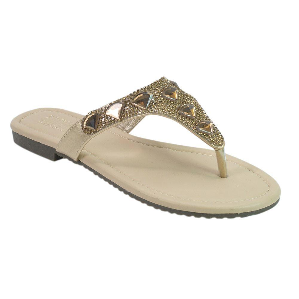 Flashing Lights Thong Sandal- Bronze