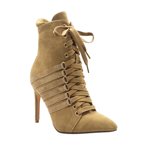 Ester-3 Women's Lace Up Heeled Bootie- Grey