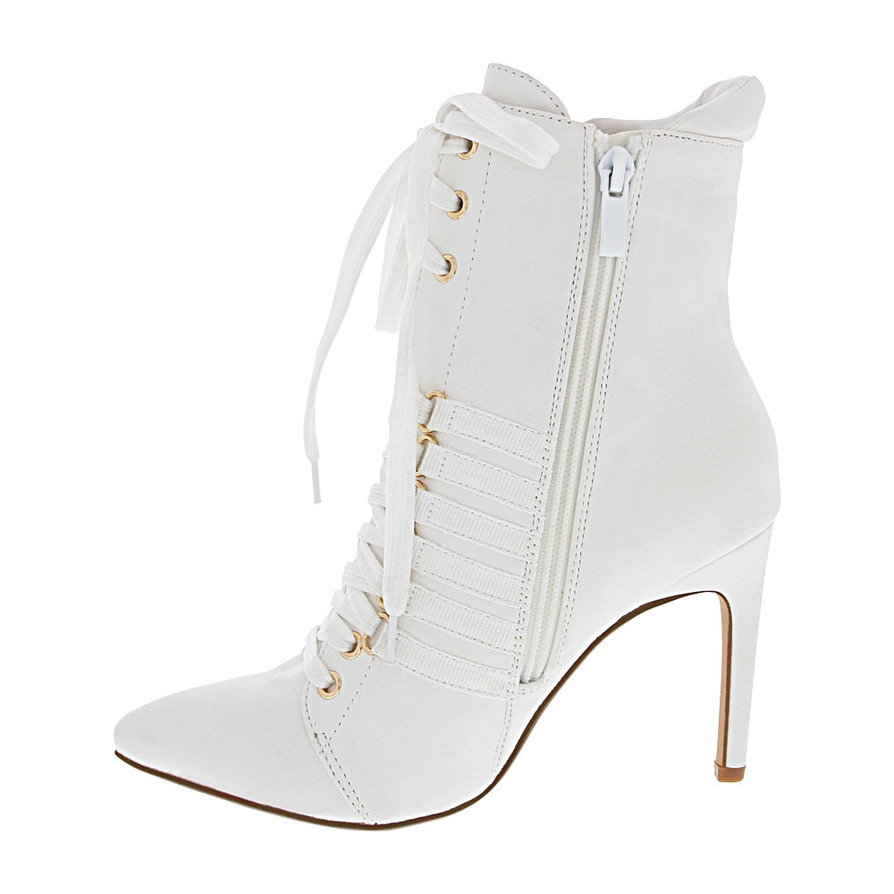 Ester-3 Women's Lace Up Heeled Bootie- White