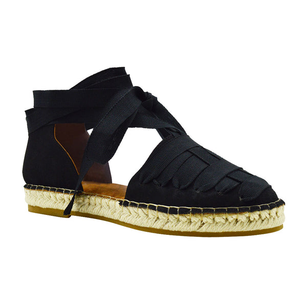 Iris-15- Women's Ribbon Lace Espadrille- Black
