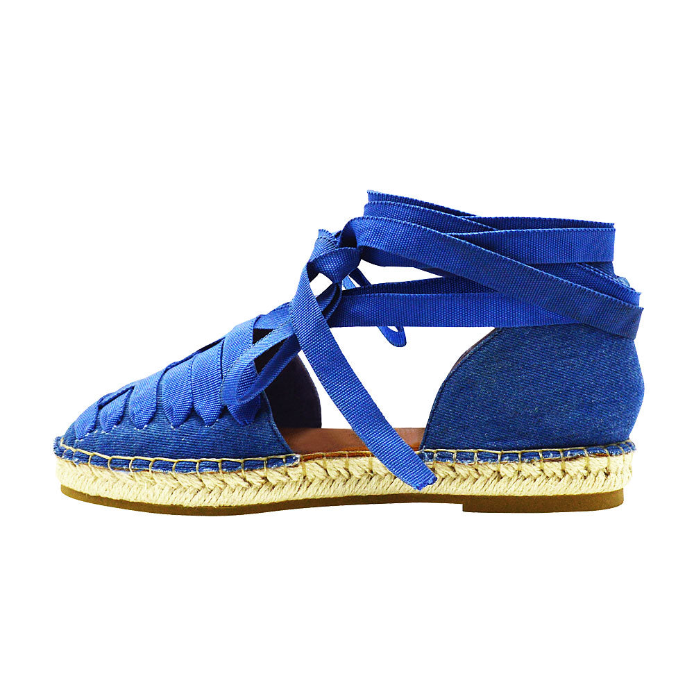 Iris-15- Women's Ribbon Lace Espadrille- Denim