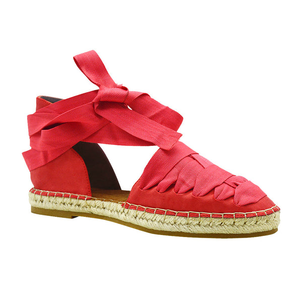 Iris-15- Women's Ribbon Lace Espadrille- Red
