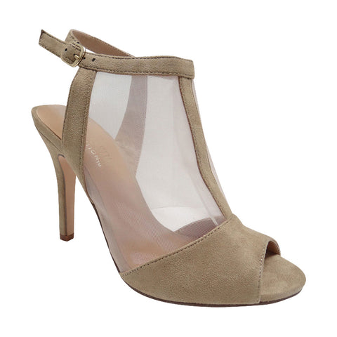 Peach-1 Women's Suede Pattern Heels - Wine