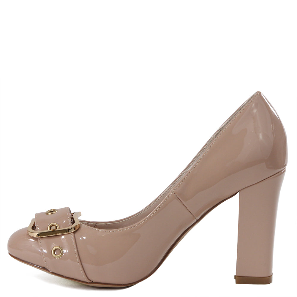 Jersey-15 Patent Round Toe Block Heel With Buckle- Nude