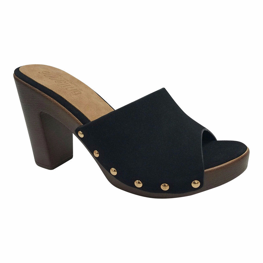 Nostalgic 70's Slip On Mule- Black