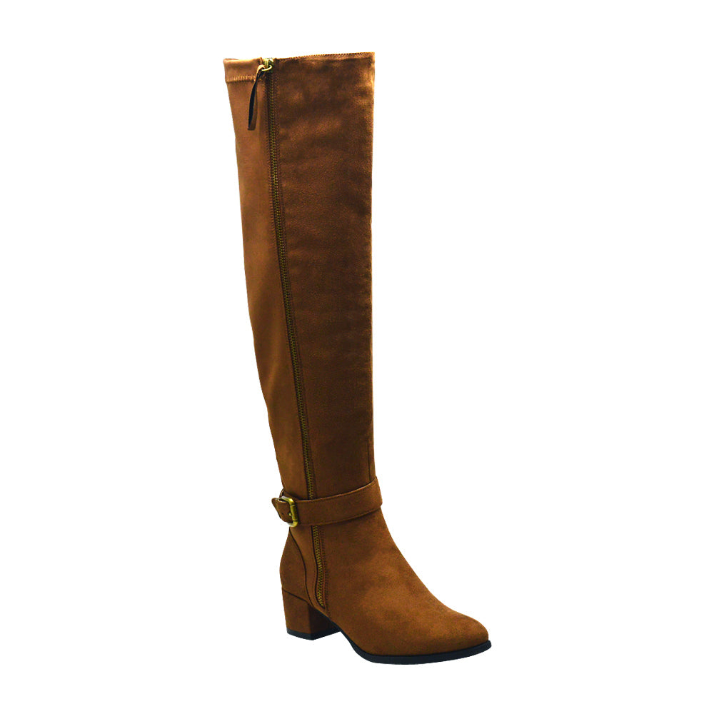 Tiffany-1 Women's Nylon Knee High Ankle Strap Boots - Brown