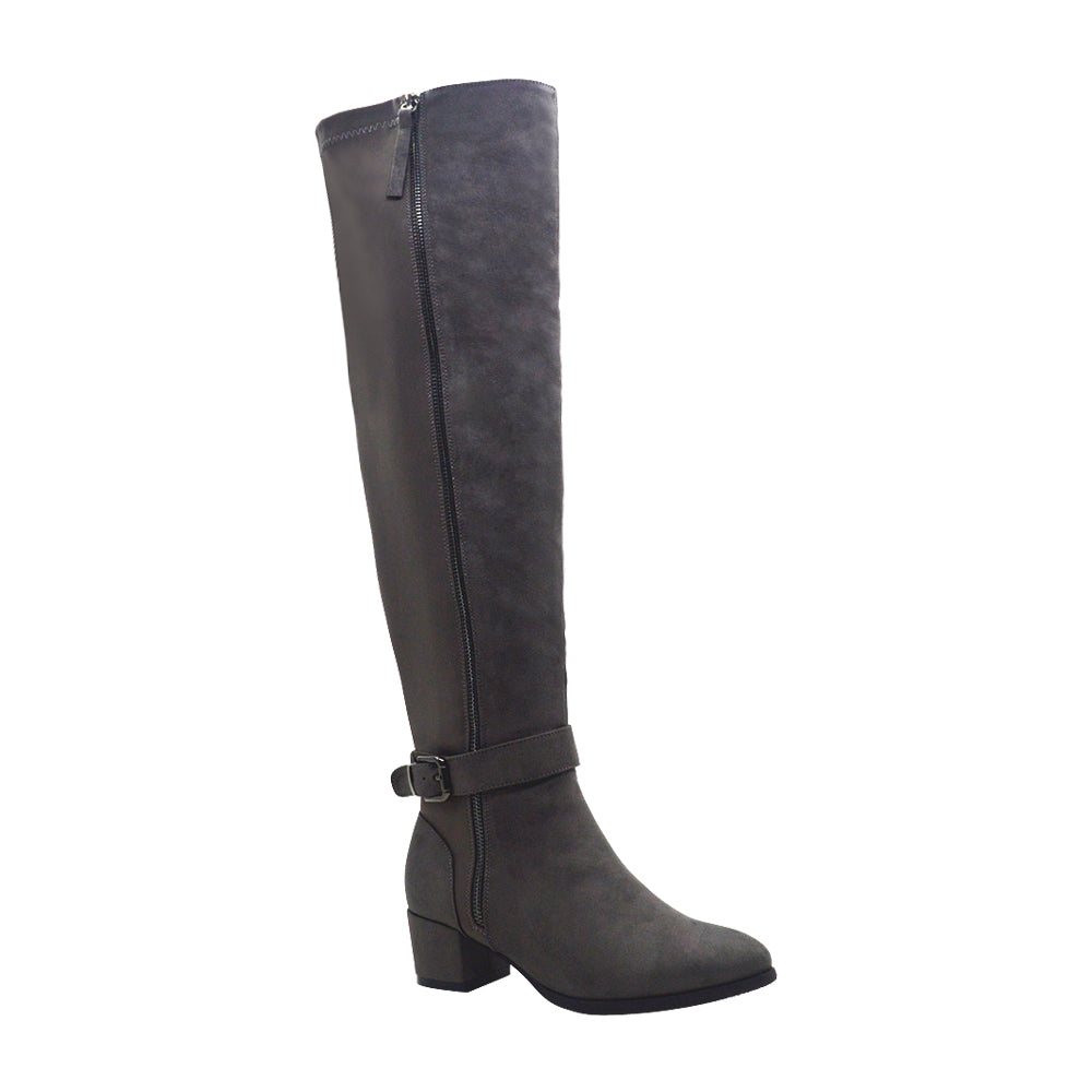 Tiffany-1 Women's Nylon Knee High Ankle Strap Boots - Grey