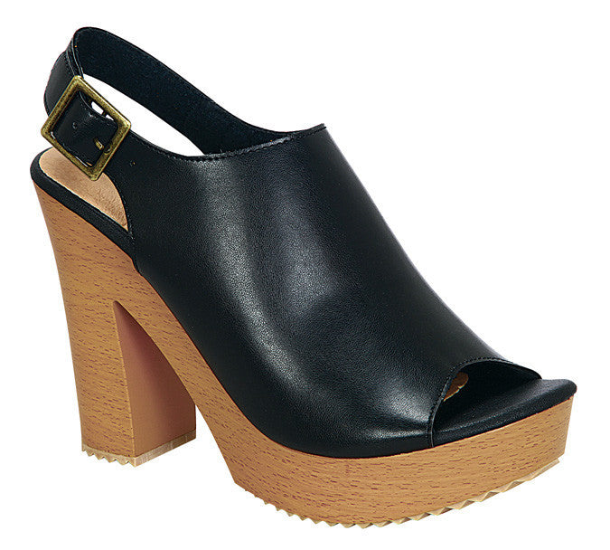 Metro-4 Stacked Heels- Black