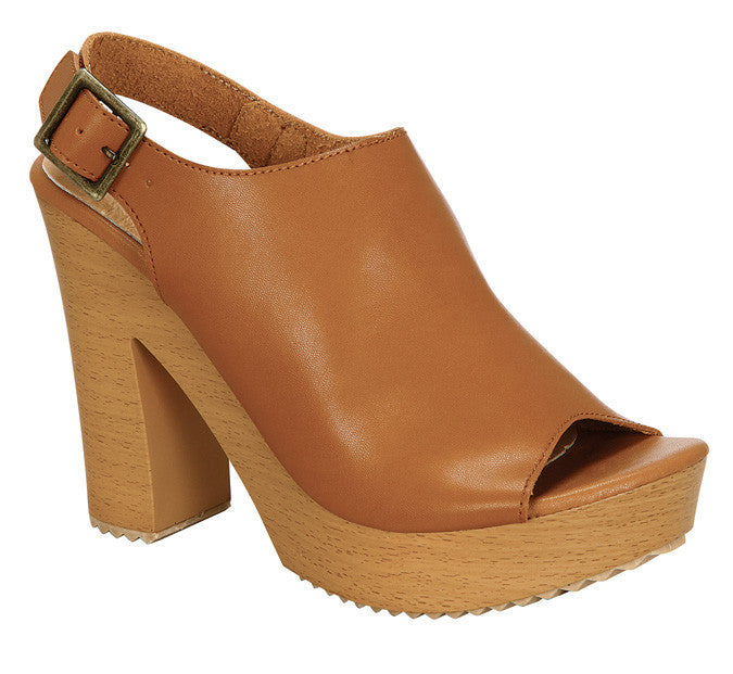Metro-4 Stacked Heels- Tan