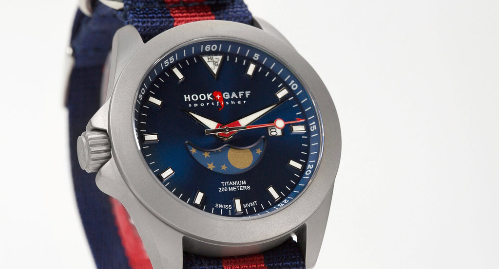 hook+gaff sportfisher ii blue dial moonphase watch