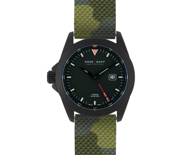black watch with green camo dive strap