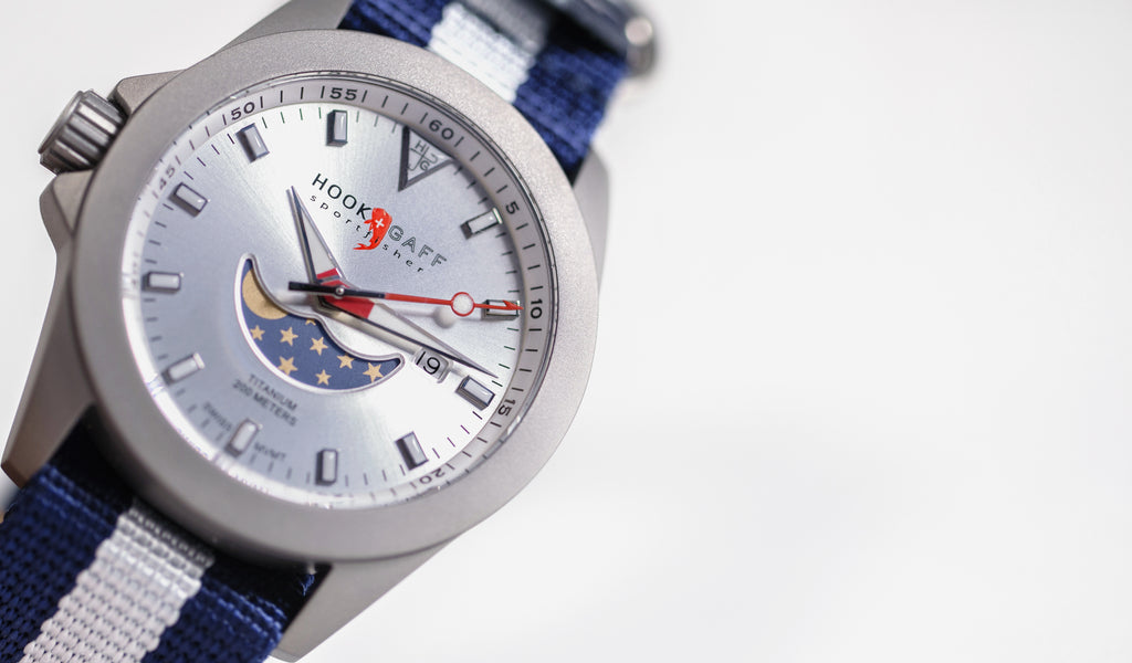 hook+gaff sportfisher moonphase watch - silver dial