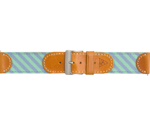 Woven Leather Watch Strap - Blue and Green
