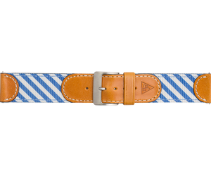 Woven Leather Watch Strap - Blue and White