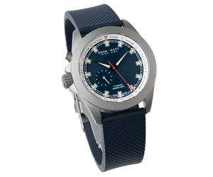 tide indicator watch with blue dial