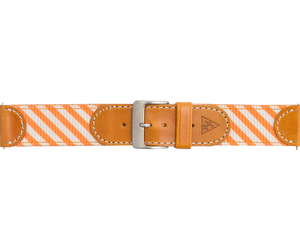 Woven Leather Watch Strap - Orange and White