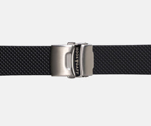 22mm Rubber Dive  Watch Strap - Black