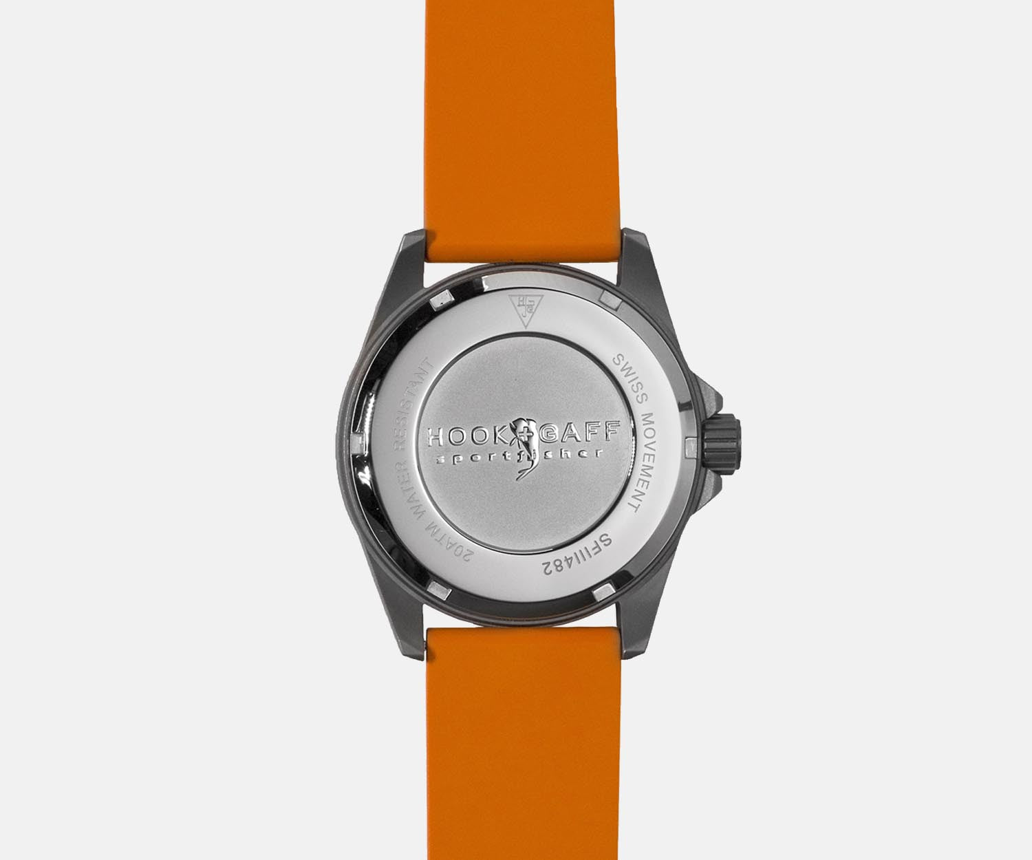 Sportfisher II Classic Silver Dial Watch - Orange Dive Strap - Back