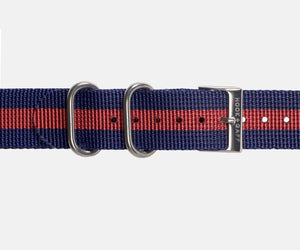 Navy and Red G10 Nylon Watch Strap