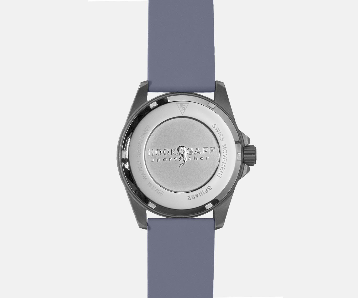 Sportfisher II Silver Moonphase Watch - Gray Dive Strap - Back
