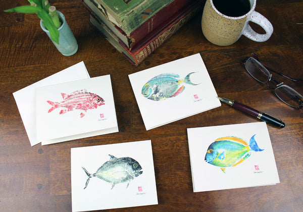 Maui Made Fish print card set, Gyutaku