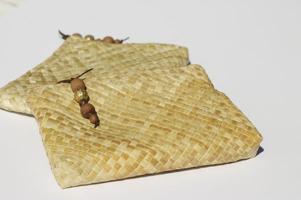 Tides and Castles - Kaliko Clutch, hand woven pandanus leaf carry all