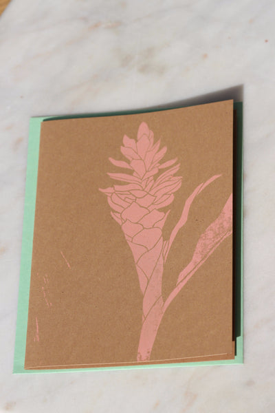 Pink Ginger Greeting Card - Hawaii Made