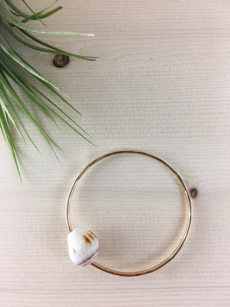 14 kt gold filled hawaiian cone shell bangle.